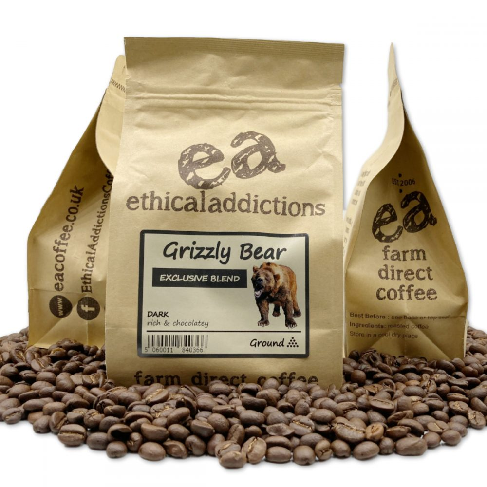 Bear Coffee bag in roasted coffee beans